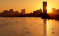 Sunrise rowing, Charles River, Boston, MA