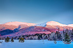 Winter view of Mount Adams and Jefferson in the White Mountain National Forest from Jefferson, NH, USA