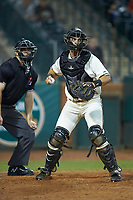 Greensboro Grasshoppers catcher Zac Susi (45) checks the runner at first base as home plate umpire Tanner Monroe looks on at First National Bank Field on April 6, 2019 in Greensboro, North Carolina. The Suns defeated the Grasshoppers 6-5. (Brian Westerholt/Four Seam Images)