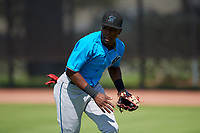 Miami Marlins outfielder Jandel Paulino (64) during practice before an Instructional League game against the Washington Nationals on September 26, 2019 at FITTEAM Ballpark of The Palm Beaches in Palm Beach, Florida.  (Mike Janes/Four Seam Images)