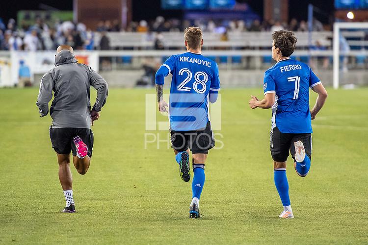SAN JOSE, CA - MAY 22: Judson #93, Benji Kikanovic #28 and Carlos Fierro #7 of the San Jose Earthquakes run after a game between San Jose Earthquakes and Sporting Kansas City at PayPal Park on May 22, 2021 in San Jose, California.