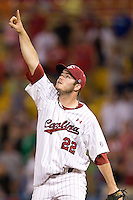 South Carolina closer Matt Price in Game 14 of the NCAA Division One Men's College World Series on June 26th, 2010 at Johnny Rosenblatt Stadium in Omaha, Nebraska.  (Photo by Andrew Woolley / Four Seam Images)
