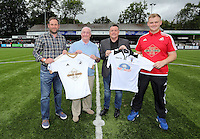 Pictured: Academy Manager Nigel Rees (3rd L) and Merthyr's chief executive, Rob Price (2nd L), on the pitch following the partnership between the two clubs Saturday 11 July 2015<br /> Re: Merthyr Town FC v Swansea City U21 at the Penydarren Park in Merthyr Tydfil, south Wales, UK.