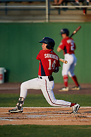 Potomac Nationals Jack Sundberg (14) at bat during a Carolina League game against the Myrtle Beach Pelicans on August 14, 2019 at Northwest Federal Field at Pfitzner Stadium in Woodbridge, Virginia.  Potomac defeated Myrtle Beach 7-0.  (Mike Janes/Four Seam Images)