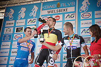 nationals podium: <br /> - gold/ Jens Debusschere (BEL/Lotto-Belisol), <br /> - silver/ Roy Jans (BEL/Wanty-Groupe Gobert) & <br /> - bronze/ Tom Boonen (BEL/OmegaPharma-Quickstep)<br /> <br /> Belgian Championships 2014 - Wielsbeke<br /> Elite Men