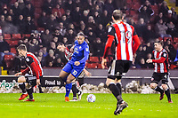Cardiff City's forward Kenneth Zohore (10) turns during the Sky Bet Championship match between Sheff United and Cardiff City at Bramall Lane, Sheffield, England on 2 April 2018. Photo by Stephen Buckley / PRiME Media Images.