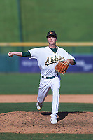Mesa Solar Sox relief pitcher Nolan Blackwood (48), of the Oakland Athletics organization, delivers a pitch to the plate during a game against the Surprise Saguaros on October 20, 2017 at Sloan Park in Mesa, Arizona. The Solar Sox walked-off the Saguaros 7-6.  (Zachary Lucy/Four Seam Images)