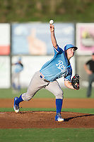 Burlington Royals starting pitcher Travis Eckert (23) in action against the Danville Braves at American Legion Post 325 Field on August 16, 2016 in Danville, Virginia.  The game was suspended due to a power outage with the Royals leading the Braves 4-1.  (Brian Westerholt/Four Seam Images)