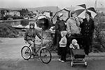 Isle of Man, Peel  family with children. 1970s. 1978