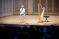 USA International Harp Competition Vice President Linda Wood Rollo speaks during the Stars of Tomorrow Concert at the 11th USA International Harp Competition at Indiana University in Bloomington, Indiana on Thursday, July 11, 2019. (Photo by James Brosher)