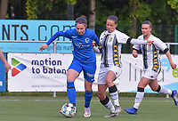 midfielder Lorene Martin (6) of KRC Genk pictured in a duel with Alysson Duterne (14) of Sporting Charleroi during a female soccer game between  Racing Genk Ladies and Sporting Charleroi on the 9 th matchday of play off 2 in the 2020 - 2021 season of Belgian Scooore Womens Super League , saturday 22 nd of May 2021  in Genk , Belgium . PHOTO SPORTPIX.BE | SPP | STIJN AUDOOREN