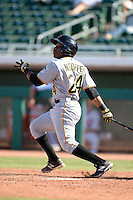 Scottsdale Scorpions second baseman Gift Ngoepe (24), of the Pittsburgh Pirates organization, during an Arizona Fall League game against the Mesa Solar Sox on October 15, 2013 at HoHoKam Park in Mesa, Arizona.  Mesa defeated Scottsdale 7-4.  (Mike Janes/Four Seam Images)