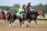 September 19, 2015. Grasshoppin, Roberto Alvarado up, joins the post parade for the $150,000. Bayern Stakes, one and 1/16 miles for three year olds and upwards, at  Parx Racing in Bensalem, PA. (Joan Fairman Kanes/ESW/CSM)