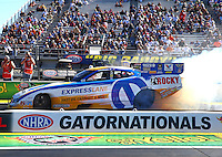 Mar 14, 2014; Gainesville, FL, USA; NHRA funny car driver Matt Hagan during qualifying for the Gatornationals at Gainesville Raceway Mandatory Credit: Mark J. Rebilas-USA TODAY Sports