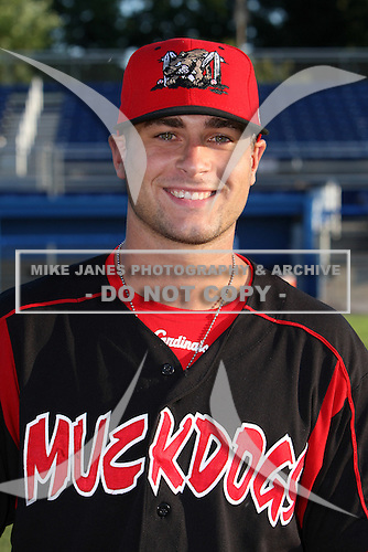 Batavia Muckdogs pitcher Tyler Lyons (19) after a game vs the Williamsport Crosscutters at Dwyer Stadium in Batavia, New York July 25, 2010.   Batavia defeated Williamsport 8-1.  Photo By Mike Janes/Four Seam Images