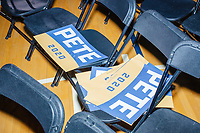 Campaign signs for Democratic presidential candidate and former South Bend, Ind., mayor Pete Buttigieg are seen after his Primary Night rally at Nashua Community College in Nashua, New Hampshire, on Tue., Feb. 11, 2020. Democratic presidential candidate and Vermont senator Bernie Sanders was projected to win the New Hampshire Democratic Primary, but Buttigieg came in a close second.