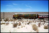 """The train to the clouds - """"Tren a las Nubes"""". One of the three highest trains in the world cross the argentinian Andes.<br /> The trip cost 1515,- US-Dollar/pP.<br /> 28.10.2000, Munanos<br /> Copyright: Christian-Ditsch.de<br /> [Inhaltsveraendernde Manipulation des Fotos nur nach ausdruecklicher Genehmigung des Fotografen. Vereinbarungen ueber Abtretung von Persoenlichkeitsrechten/Model Release der abgebildeten Person/Personen liegen nicht vor. NO MODEL RELEASE! Nur fuer Redaktionelle Zwecke. Don't publish without copyright Christian-Ditsch.de, Veroeffentlichung nur mit Fotografennennung, sowie gegen Honorar, MwSt. und Beleg. Konto: I N G - D i B a, IBAN DE58500105175400192269, BIC INGDDEFFXXX, Kontakt: post@christian-ditsch.de<br /> Urhebervermerk wird gemaess Paragraph 13 UHG verlangt.]"""