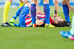 Gabriel Fernandez Arenas, Gabi, of Atletico de Madrid lies injured on the pitch during their La Liga match between Atletico de Madrid and FC Barcelona at the Santiago Bernabeu Stadium on 26 February 2017 in Madrid, Spain. Photo by Diego Gonzalez Souto / Power Sport Images