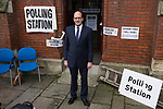© Joel Goodman - 07973 332324 . 20/11/2014 . Kent , UK . ) . UKIP candidate MARK RECKLESS , leaving a polling station at Baptists Church Institute on Crow Lane , Rochester , after casting his vote . The Rochester and Strood by-election campaign following the defection of sitting MP Mark Reckless from Conservative to UKIP . Photo credit : Joel Goodman