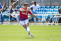 SAN JOSE, CA - APRIL 24: Jose Martinez #3 of FC Dallas shoots the ball during a game between FC Dallas and San Jose Earthquakes at PayPal Park on April 24, 2021 in San Jose, California.