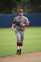 Derek Chapman (1) of the Washington State Cougars returns to the dugout during a game against the Loyola Marymount Lions at Page Stadium on February 26, 2017 in Los Angeles, California. Loyola defeated Washington State, 7-4. (Larry Goren/Four Seam Images)