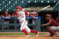 Josh McLain (15) of the North Carolina State Wolfpack follows through on his swing against the Boston College Eagles in Game Two of the 2017 ACC Baseball Championship at Louisville Slugger Field on May 23, 2017 in Louisville, Kentucky. The Wolfpack defeated the Eagles 6-1. (Brian Westerholt/Four Seam Images)