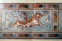 Greek Art:  Minoan bull-vaulting acrobats-- fresco.  Knossos, the Bronze Age archaeological site on Crete.