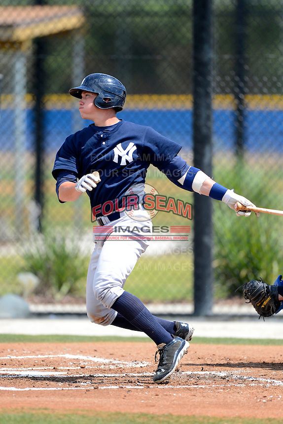 New York Yankees minor league catcher Pete O'Brien #53 during a Spring Training game against the Toronto Blue Jays at the Englebert Complex on March 19, 2013 in Dunedin, Florida.  (Mike Janes/Four Seam Images)