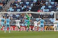 SAINT PAUL, MN - MAY 1: Chase Gasper #77 of Minnesota United FC and Brad Stuver #41 of Austin FC collide in front of goal during a game between Austin FC and Minnesota United FC at Allianz Field on May 1, 2021 in Saint Paul, Minnesota.