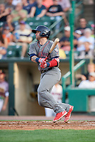 Lehigh Valley IronPigs catcher Nick Rickles (9) follows through on a swing during a game against the Rochester Red Wings on June 29, 2018 at Frontier Field in Rochester, New York.  Lehigh Valley defeated Rochester 2-1.  (Mike Janes/Four Seam Images)