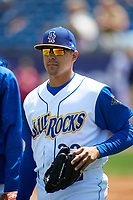 Wilmington Blue Rocks pitcher Andres Machado (39) walks to the bullpen before the first game of a doubleheader against the Frederick Keys on May 14, 2017 at Daniel S. Frawley Stadium in Wilmington, Delaware.  Wilmington defeated Frederick 10-2.  (Mike Janes/Four Seam Images)
