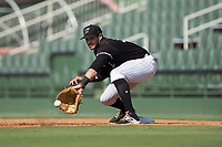 Kannapolis Intimidators first baseman Brandon Dulin (31) reaches for a low throw during the game against the Hagerstown Suns at Kannapolis Intimidators Stadium on June 15, 2017 in Kannapolis, North Carolina.  The Intimidators walked-off the Suns 5-4 in game one of a double-header.  (Brian Westerholt/Four Seam Images)