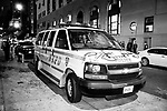 NEW YORK, NY — OCTOBER 27, 2020:  An NYPD van sits vandalized during a protest against police brutality, in response to the shooting of Walter Wallace Jr. by Philadelphia police officers the prior day, on October 27, 2020 in the Brooklyn borough of New York City.  The confrontation, recorded on a now viral video posted to social media, shows Wallace, a 27 year-old Black man who family members said was in the midst of a mental health crisis, holding a knife as two police officers shot and killed him.  Photograph by Michael Nagle
