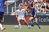 CARY, NC - SEPTEMBER 12: Lindsey Horan #10 of the Portland Thorns FC is challenged for the ball by Havana Solaun #19 of the North Carolina Courage during a game between Portland Thorns FC and North Carolina Courage at Sahlen's Stadium at WakeMed Soccer Park on September 12, 2021 in Cary, North Carolina.