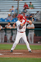 Auburn Doubledays center fielder Nick Choruby (4) at bat during a game against the Connecticut Tigers on August 10, 2017 at Falcon Park in Auburn, New York.  Connecticut defeated Auburn 4-1.  (Mike Janes/Four Seam Images)