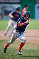 Lowell Spinners center fielder Dylan Hardy (17) scores a run during a game against the Batavia Muckdogs on July 15, 2018 at Dwyer Stadium in Batavia, New York.  Lowell defeated Batavia 6-2.  (Mike Janes/Four Seam Images)