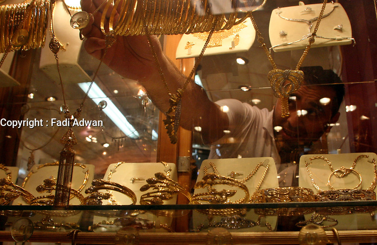 Palestinians buy jewels in the golds market in Gaza City, Wednesday, Aug. 29, 2007. (FADY ADWAN)