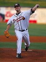 24 April 2007: Dan Smith of the Mississippi Braves, the Atlanta Braves' Class AA affiliate of the Southern League, in a game against the Birmingham Barons at Trustmark Park in Pearl, Miss. Photo by:  Tom Priddy/Four Seam Images