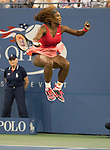Serena Williams wins the women's final at the US Open being played at USTA Billie Jean King National Tennis Center in Flushing, NY on September 8, 2013