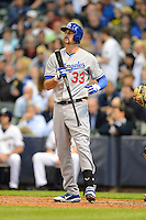 Los Angeles Dodgers outfielder Scott Van Slyke #33 during a game against the Milwaukee Brewers at Miller Park on May 22, 2013 in Milwaukee, Wisconsin.  Los Angeles defeated Milwaukee 9-2.  (Mike Janes/Four Seam Images)