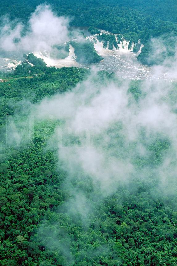 Venezuela, Bolivar State: Guyana Shield: aerial of Salto Para (Para Falls) on Caura River in rainforest; clouds are cumulus fractus