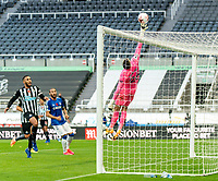 1st November 2020; St James Park, Newcastle, Tyne and Wear, England; English Premier League Football, Newcastle United versus Everton; Karl Darlow of Newcastle United makes a save high in his goal late in match