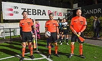 referees pictured with Alessio Blanni (middle) , David Dossogne and Jonathan Binard ahead of a female soccer game between Sporting Charleroi and Eendracht Aalst on the 8th  matchday of the 2020 - 2021 season of Belgian Scooore Womens Super League , friday 20 th of November 2020  in Marcinelle , Belgium . PHOTO SPORTPIX.BE | SPP | DAVID CATRY