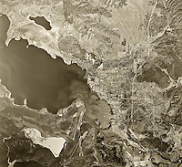 historical aerial photograph Clearlake, Lake County, California, 1957