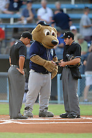 Asheville Tourists mascot Ted E Tourists #00 shakes hands with home plate umpire Ramon Hernandez, while Ivan Mercado tries not to laugh before a  game  between  the Charleston RiverDogs  and the Asheville Tourists  at McCormick Field on August 4, 2011 in Asheville, North Carolina. Asheville won the game 5-4.   (Tony Farlow/Four Seam Images)
