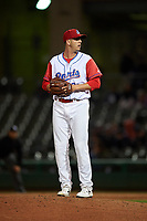 Stockton Ports relief pitcher Brendan Butler (22) prepares to deliver a pitch during a California League game against the Rancho Cucamonga Quakes at Banner Island Ballpark on May 16, 2018 in Stockton, California. Rancho Cucamonga defeated Stockton 6-3. (Zachary Lucy/Four Seam Images)