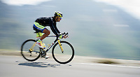 Daniele Bennati (ITA/Tinkoff-Saxo) coming down fast over the top of the Col du Tourmalet (HC/2115m/17.1km/7.3%)<br /> <br /> 2014 Tour de France<br /> stage 18: Pau - Hautacam (145km)