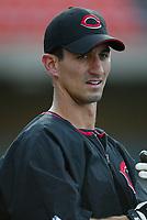 Mark Budzinski of the Cincinnati Reds during a 2003 season MLB game at Dodger Stadium in Los Angeles, California. (Larry Goren/Four Seam Images)