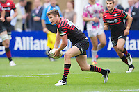 20120823 Copyright onEdition 2012©.Free for editorial use image, please credit: onEdition..Owen Farrell of Saracens opens up an attack at The Honourable Artillery Company, London in the pre-season friendly between Saracens and Stade Francais Paris...For press contacts contact: Sam Feasey at brandRapport on M: +44 (0)7717 757114 E: SFeasey@brand-rapport.com..If you require a higher resolution image or you have any other onEdition photographic enquiries, please contact onEdition on 0845 900 2 900 or email info@onEdition.com.This image is copyright the onEdition 2012©..This image has been supplied by onEdition and must be credited onEdition. The author is asserting his full Moral rights in relation to the publication of this image. Rights for onward transmission of any image or file is not granted or implied. Changing or deleting Copyright information is illegal as specified in the Copyright, Design and Patents Act 1988. If you are in any way unsure of your right to publish this image please contact onEdition on 0845 900 2 900 or email info@onEdition.com