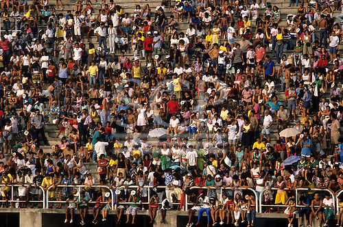 Rio de Janeiro, Brazil. Carnival; audience on the stands of the sambadrome (sambodromo).